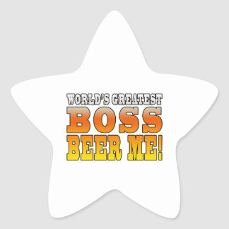 Bosses Office Parties Worlds Greatest Boss Beer Me Star Sticker