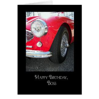 boss's birthday-red sports car greeting card