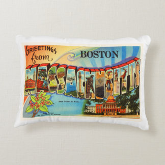 Boston #2 Massachusetts MA Vintage Travel Souvenir Accent Pillow
