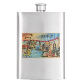 Boston #2 Massachusetts MA Vintage Travel Souvenir Hip Flask
