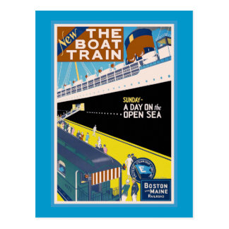 """Boston and Maine"" Vintage Travel Poster Postcard"