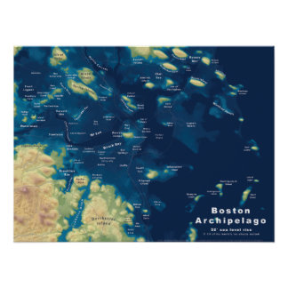 """Boston Archipelago--Drowned Cities Map, 24""""x18"""" Poster"""
