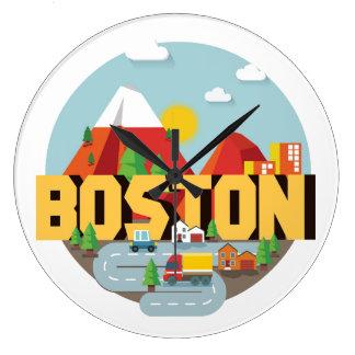 Boston As A Destination Large Clock