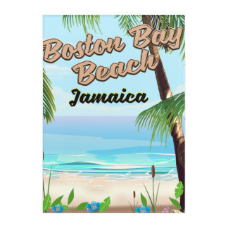 Boston bay beach, Jamaica Acrylic Wall Art