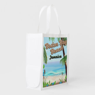 Boston bay beach, Jamaica Reusable Grocery Bag