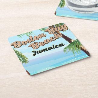 Boston bay beach, Jamaica Square Paper Coaster