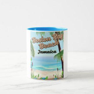 Boston bay beach, Jamaica Two-Tone Coffee Mug