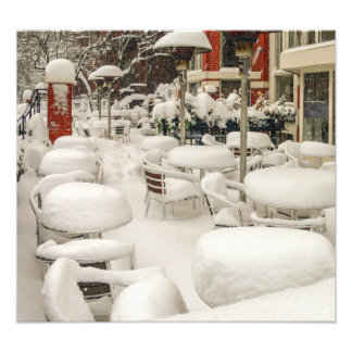 Boston cafe in the snow photograph