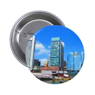 Boston City Buildings n Urban Landscape 2 Inch Round Button