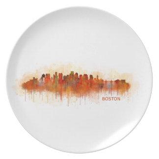 Boston City Massachusetts skyline v3 Party Plates