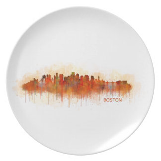 Boston City Massachusetts skyline v3 Plate