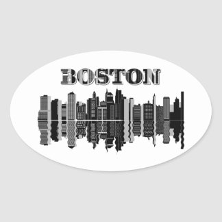 Boston City Skyline Oval Sticker