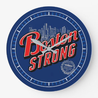 Boston City Strong Remembers on Navy Blue Dial Large Clock