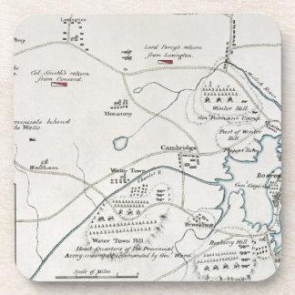 BOSTON-CONCORD MAP, 1775 DRINK COASTERS