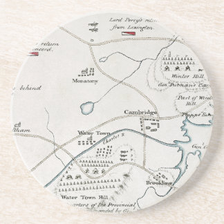 BOSTON-CONCORD MAP, 1775 DRINK COASTERS