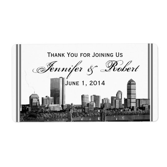 Boston Destination Wedding Water Bottle Label