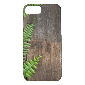 Boston fern border on wood iPhone 8/7 case