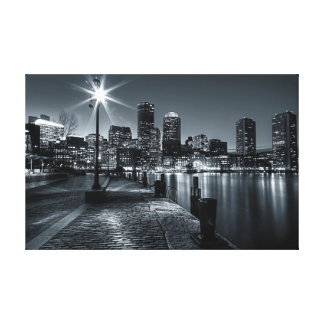 Boston Harbor B&W Night Canvas