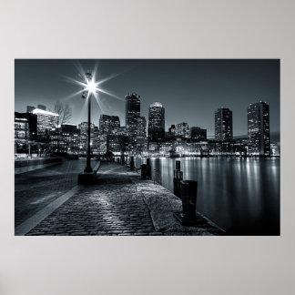 Boston Harbor B&W Night Poster