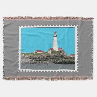 Boston Harbor Lighthouse Stamp Throw Blanket