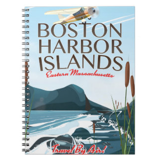 Boston Harbor Massachusetts Flight poster Spiral Notebook