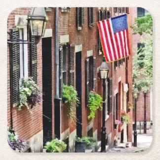 Boston MA - Acorn Street Square Paper Coaster