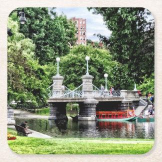 Boston MA - Boston Public Garden Bridge Square Paper Coaster