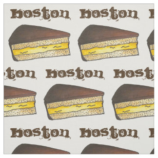 BOSTON MA Massachusetts Cream Pie Slice Foodie Fabric