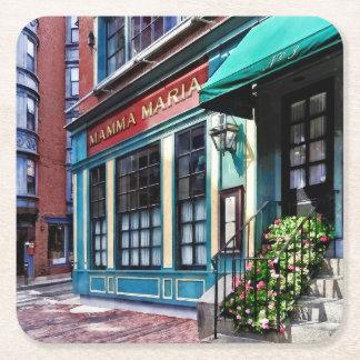 Boston Ma - North End Restaurant Square Paper Coaster