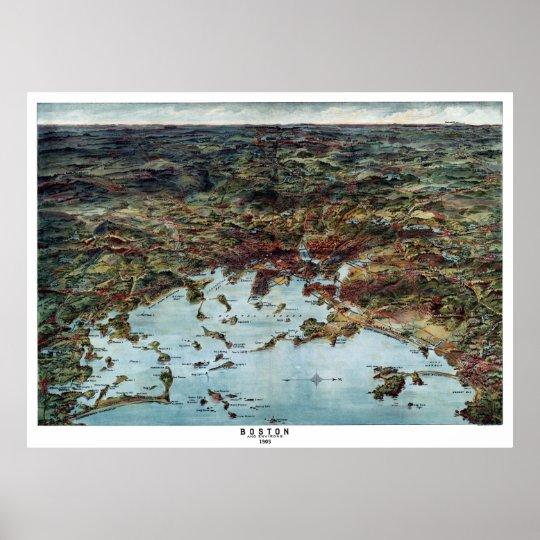 Boston MA Panoramic Map DIGITALLY REMASTERED Poster