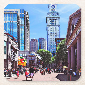 Boston MA - Quincy Market Square Paper Coaster