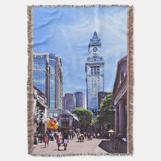 Boston MA - Quincy Market Throw Blanket