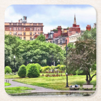 Boston MA - Relaxing In Boston Public Garden Square Paper Coaster
