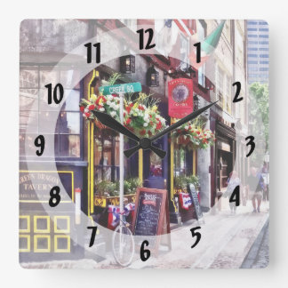 Boston MA - Restaurants on Creek Square Square Wall Clock