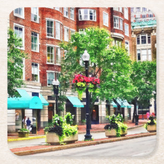 Boston MA - Shops Along Boyleston Street Square Paper Coaster