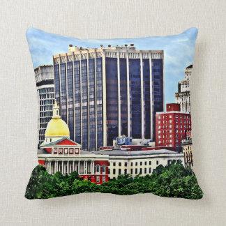 Boston MA - Skyline with Massachusetts State House Throw Pillow