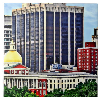 Boston MA - Skyline with Massachusetts State House Tiles