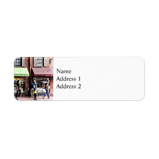 Boston Ma - Street With Candy Store And Bakery Return Address Label