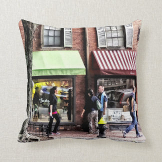 Boston Ma - Street With Candy Store And Bakery Throw Pillow