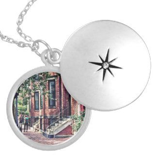 Boston MA - Walking the Dog on Mount Vernon Street Silver Plated Necklace