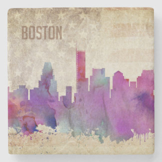 Boston, MA | Watercolor City Skyline Stone Coaster