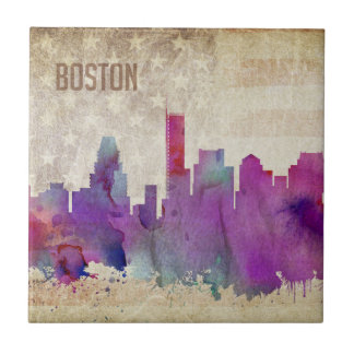 Boston, MA | Watercolor City Skyline Tile