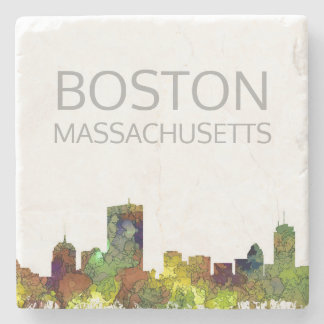 Boston Mas .Skyline Safari Buff Stone Coaster