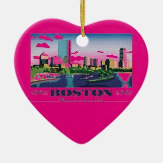 Boston, Massachusetts Ceramic Heart Ornament