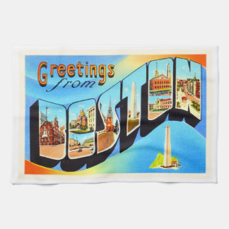Boston Massachusetts MA Vintage Travel Souvenir Kitchen Towel