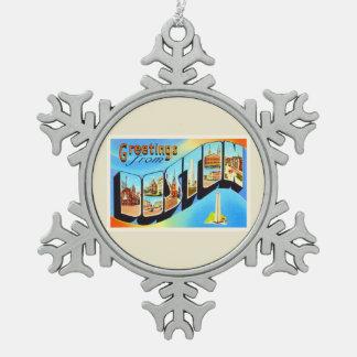 Boston Massachusetts MA Vintage Travel Souvenir Snowflake Pewter Christmas Ornament
