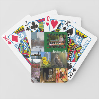 Boston, Massachusetts Photo Collage Bicycle Playing Cards