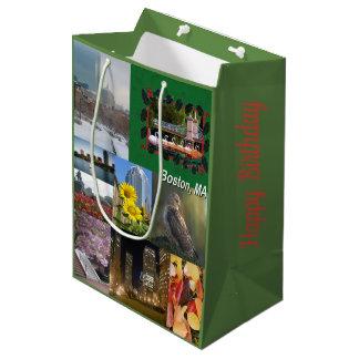 Boston, Massachusetts Photo Collage Medium Gift Bag