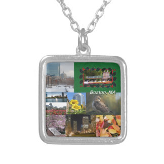 Boston, Massachusetts Photo Collage Silver Plated Necklace