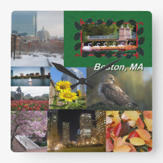 Boston, Massachusetts Photo Collage Square Wall Clock